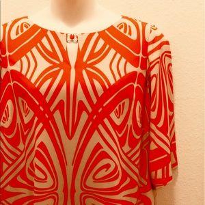 Tahari Orange and Beige Dress 20W
